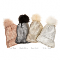 Metallic Sparkle Pom Pom Bobble Beanie Hat